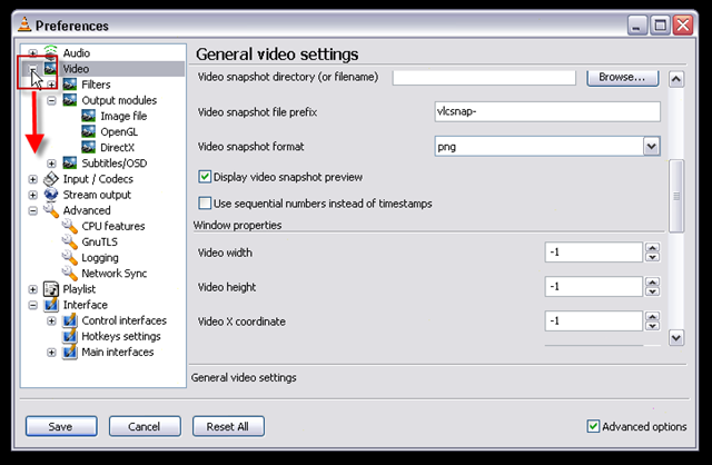 04_click on the plus next to video in the preferences sel to open the config tree for video