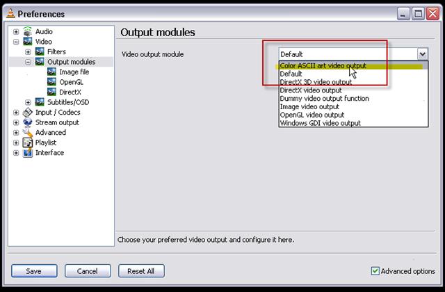 06_change default video output module to Color ASCII Art Video output